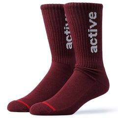 Active Ride Shop Men's Crew Socks in Burgundy with white