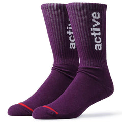 Active Ride Shop Men's Crew Socks in Purple with white