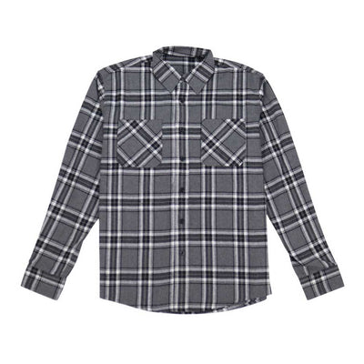 Button Down Flannel Shirt - Grey Black