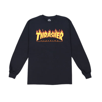 Flame Long Sleeve T-Shirt - Black