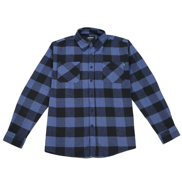 Button Down Flannel Shirt - Blue/Black