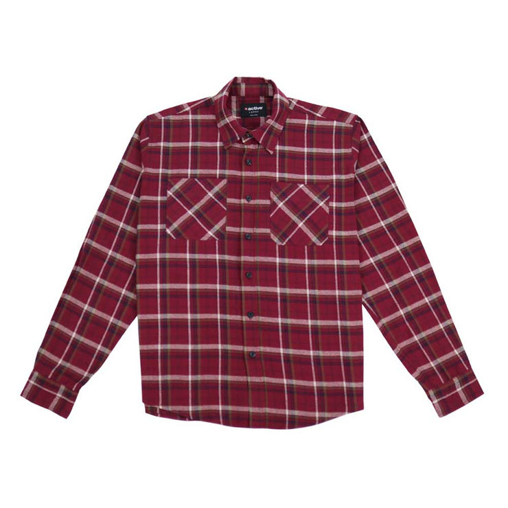 Button Down Flannel Shirt - Wine