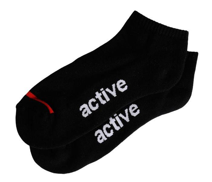 "Men's Active Ride Shop Ankle socks in black with white ""Active"" writing across bottom of foot."