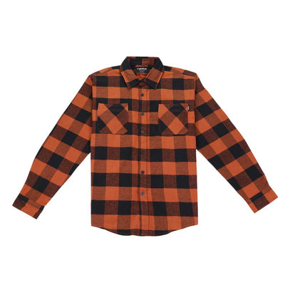 Button Down Flannel Shirt - Orange/Black