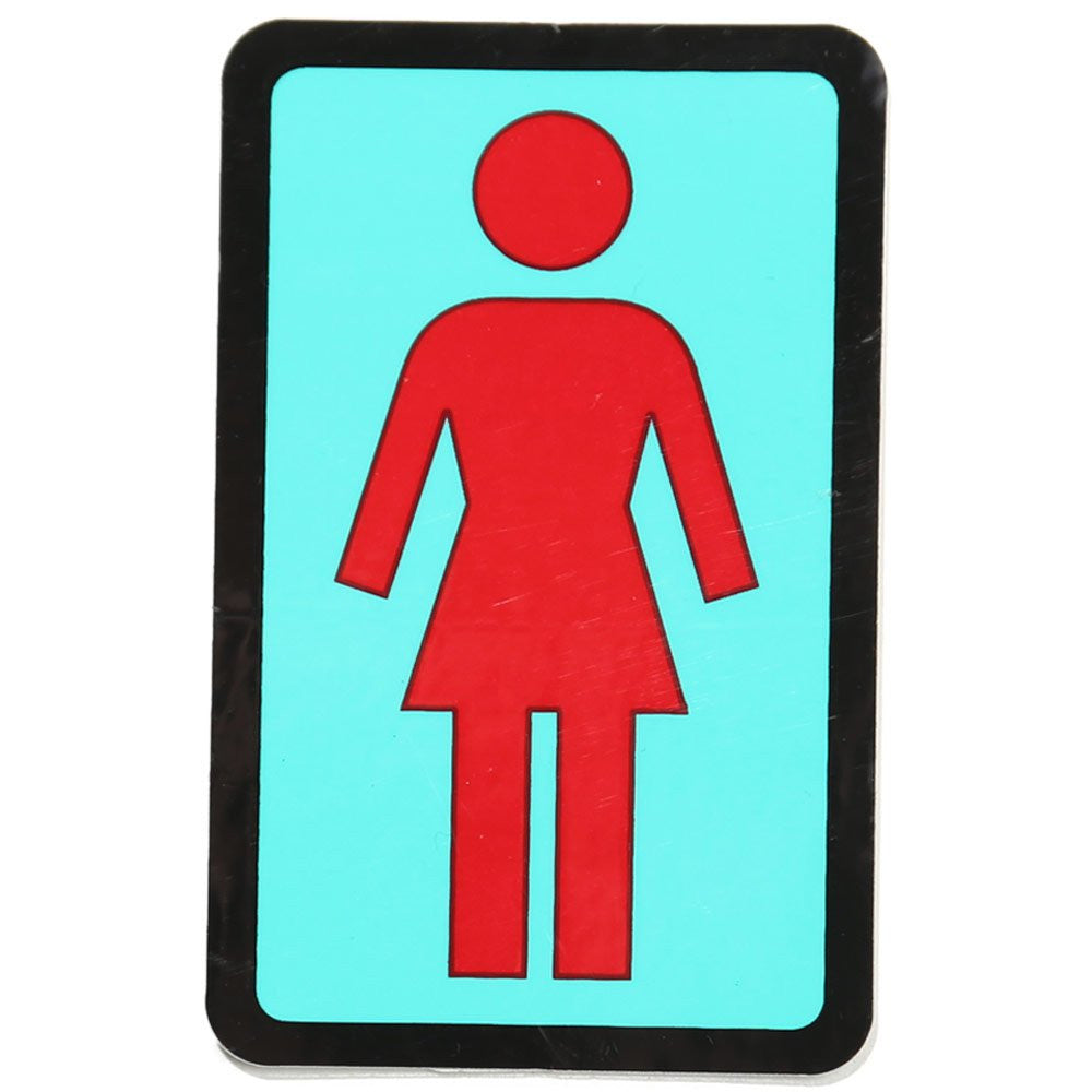 "Girl OG Sticker with a red outline of a girl with a light blue background and black outline around rectangular shape. 3"" sticker"
