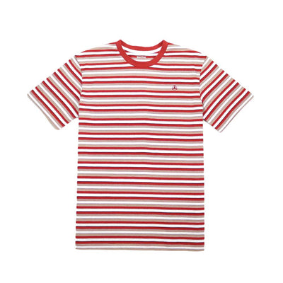Kearny Stripe Tee - Burnt Orange/White