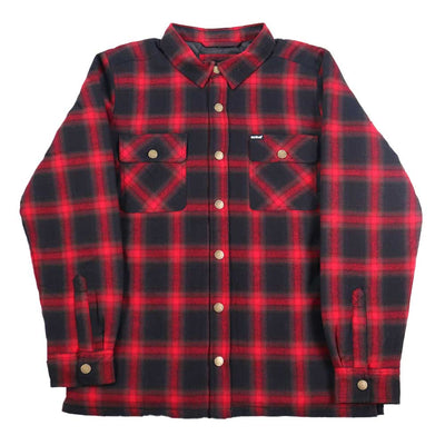 Quilted Lined Flannel Jacket - Black/Red
