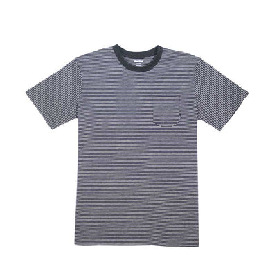 Ross Stripe Tee - Heather Charcoal/White