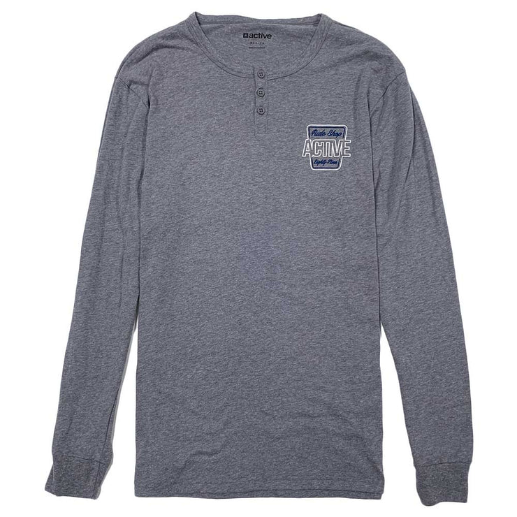 Wax Long Sleeve Henley - Medium Grey