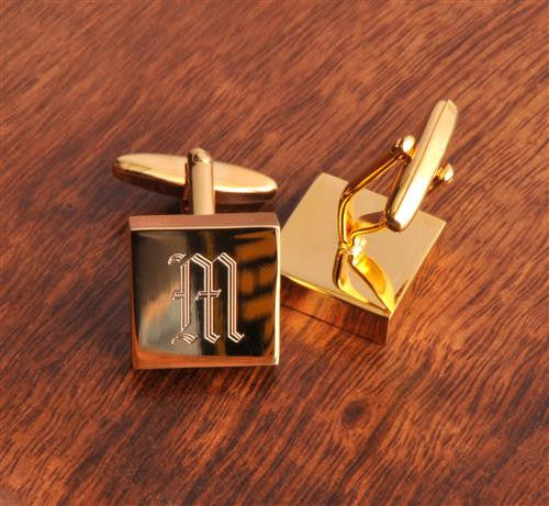 High Polish Brass Cufflinks - Monogrammed Brass Cufflinks