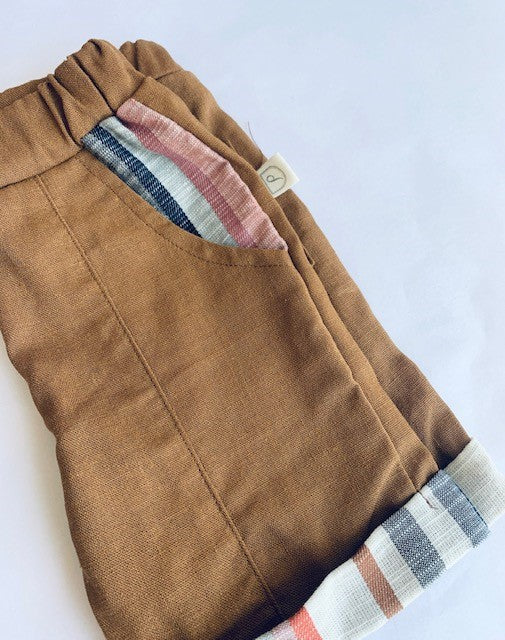 George Shorts - RUST/NAVY VINTAGE STRIPE (Cotton/Linen)