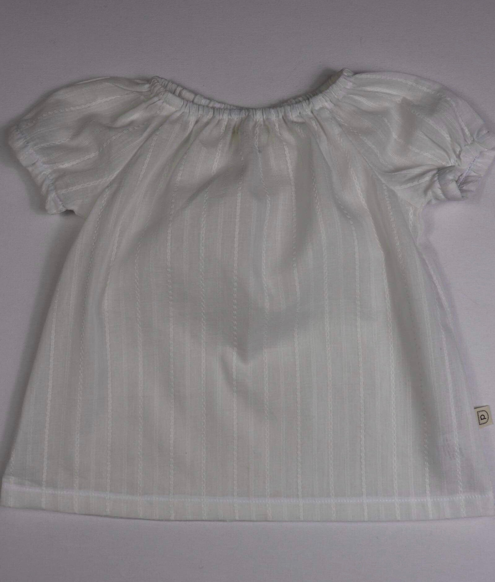 Poche Peasant Top/Short Sleeve - WHITE STRIPE
