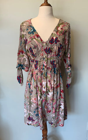 Fleur Tie Sleeve Dress  Grey Pink Hibiscus ~ Short