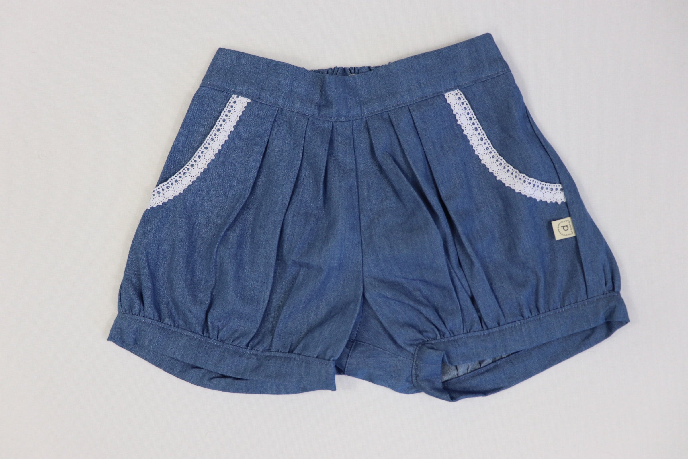 Poche Pleated Shorts - CHAMBRAY DENIM
