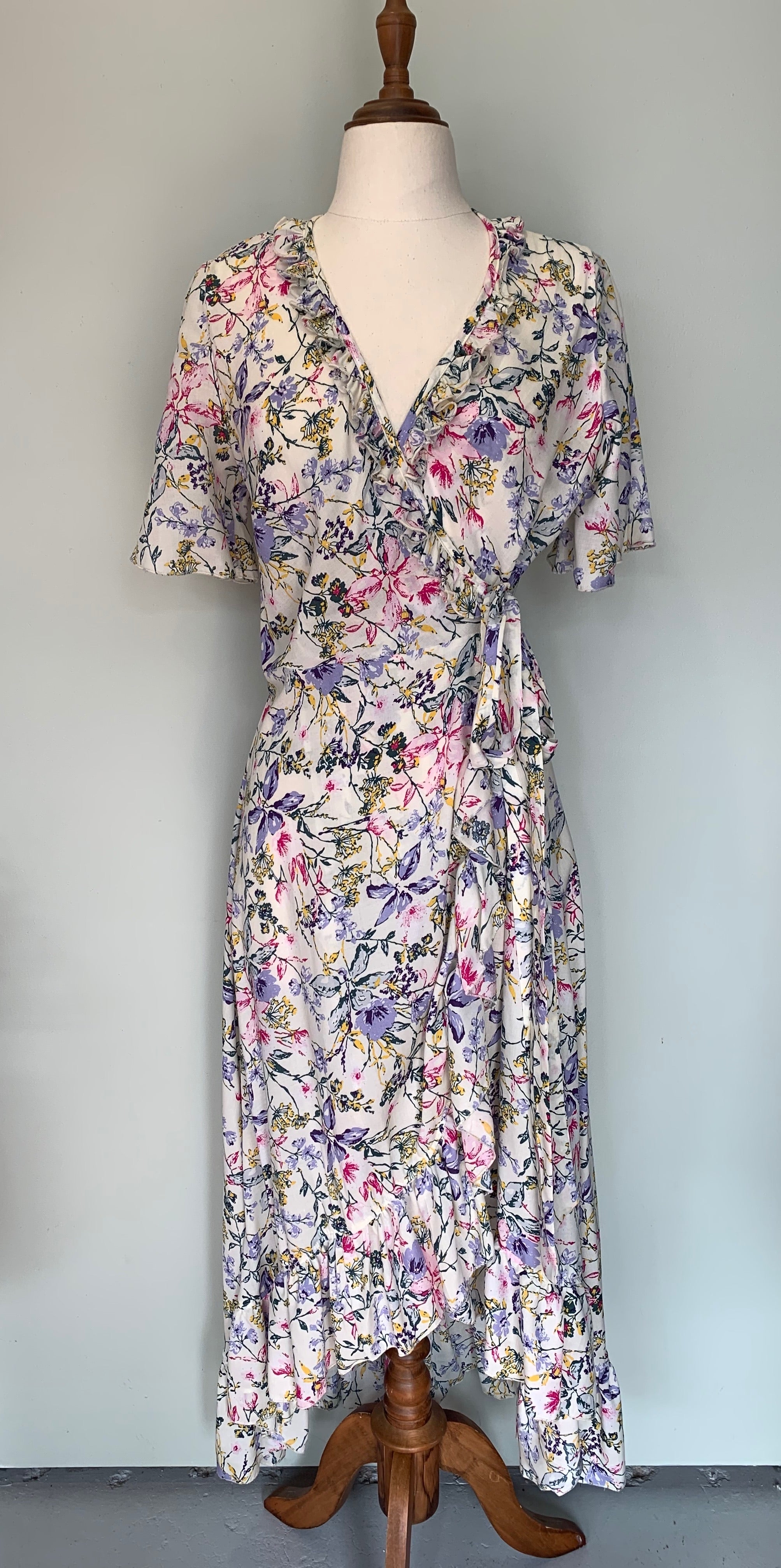 La Femme Wrap Dress Long ~ Cream Lilac Floral