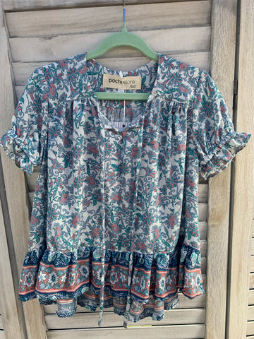 La Boheme Blouse/Short Sleeve - OCEAN BLUE