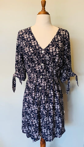 Fleur Tie Sleeve Dress  Navy Daisy ~ Short