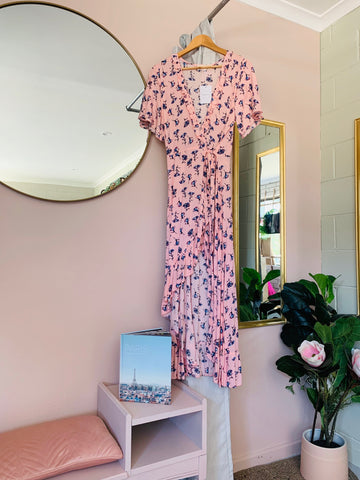 La Femme Wrap Dress Long ~ Pink Tulip