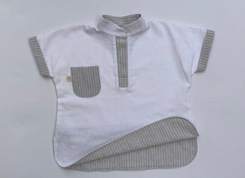 Herbert Shirt -Short Sleeve WHITE/GREY WHITE STRIPE