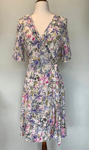 La Femme Wrap Dress Short ~ Cream Lilac Floral