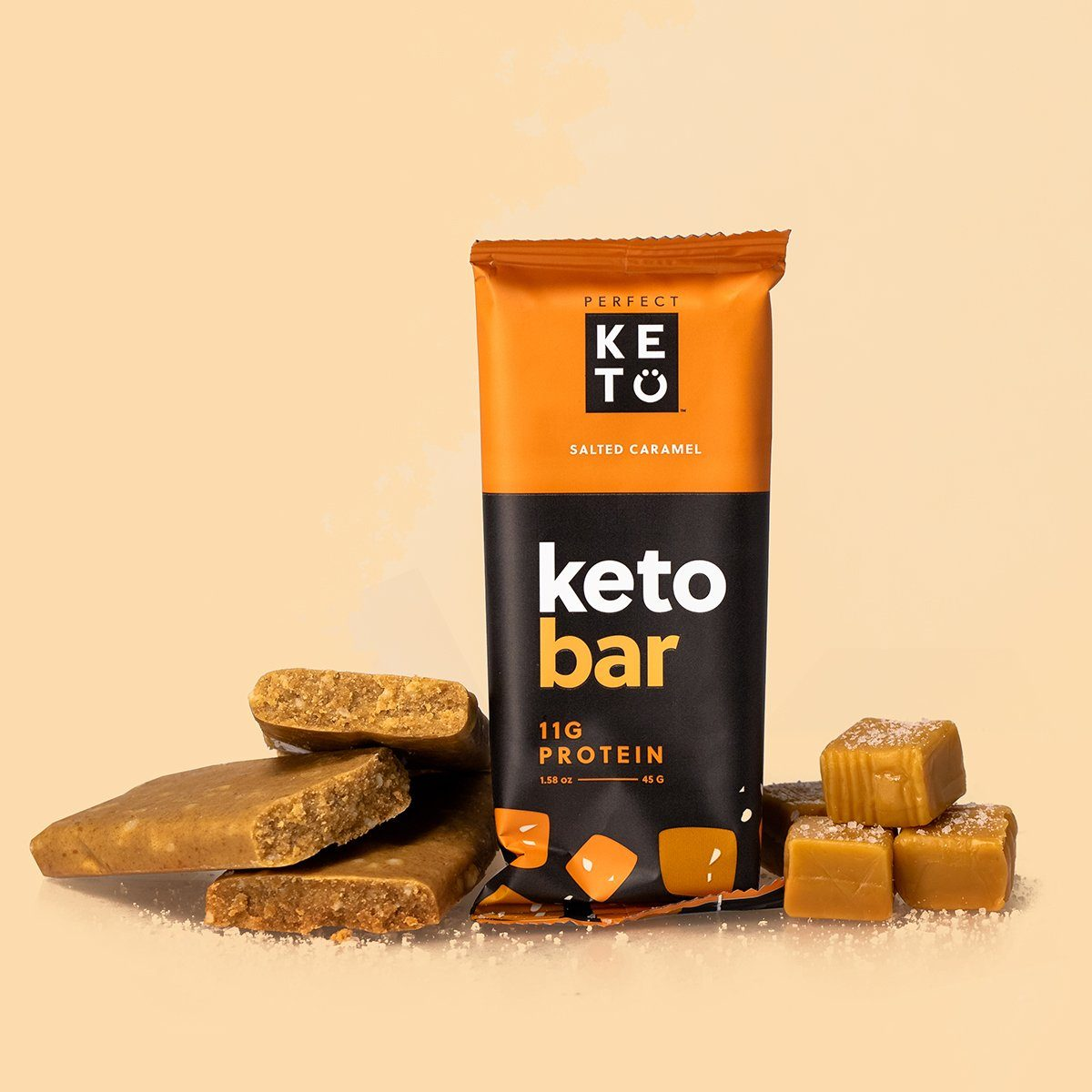 our salty and sweet salted caramel keto bars