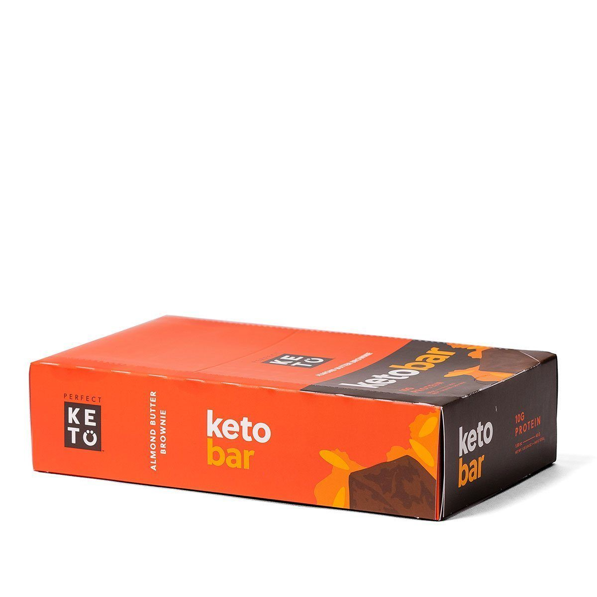 almond butter brownie keto bars in a bright orange box