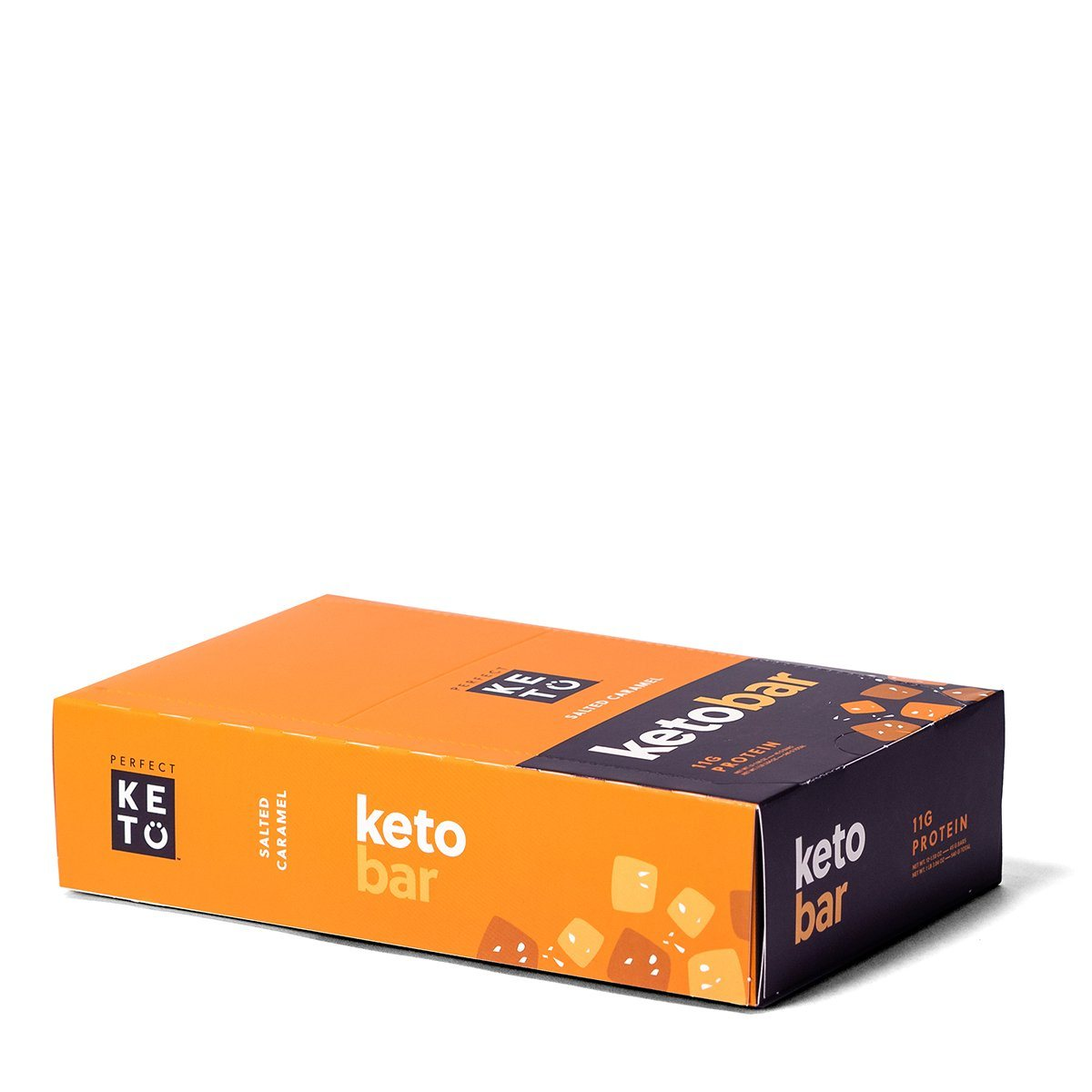 salted caramel keto bars in a caramel colored box