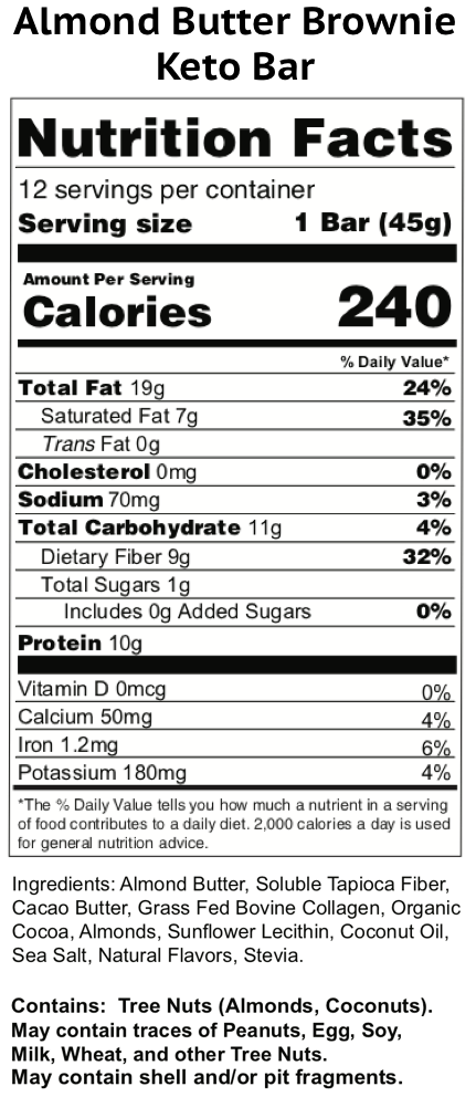 almond butter brownie keto bars nutrition facts label
