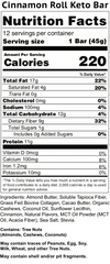 cinnamon rolls keto bars nutrition facts label