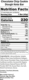 chocolate chip cookie dough keto bars nutrition facts label