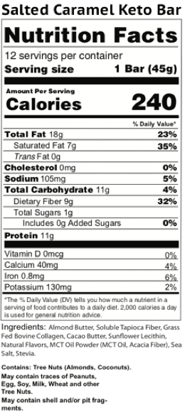 salted caramel keto bars nutrition facts label