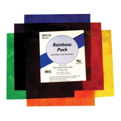 "Smith-Victor Color Effects Rainbow Filter Pack with Six 12x12"" Gel Filters."