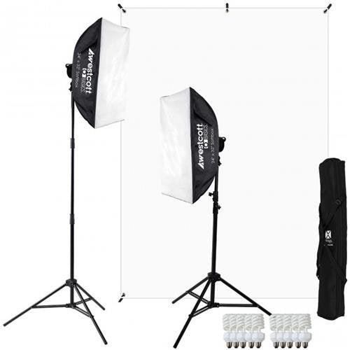Westcott D5 2-Light Video Blogging Kit with X-Drop Stand & White Backdrop