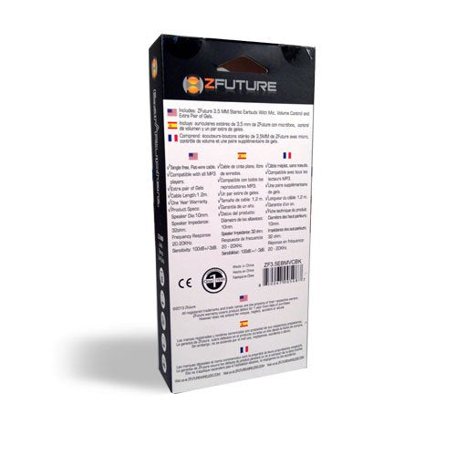 ZFUTURE Ear-Rupters, Flat Wire-tagle Free, Ear Buds, with Mic, Volume Control, Music Control, 3 Sets of Ear Gels