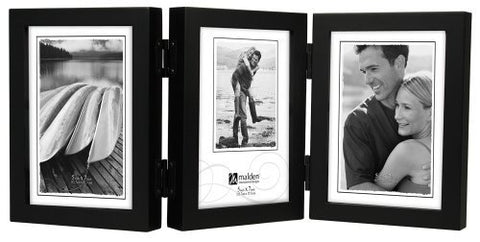 Malden International Designs Classic Concepts Vertical Black Wood Picture Frame, Holds Three 5 by 7-Inch Photos by Malden International Designs