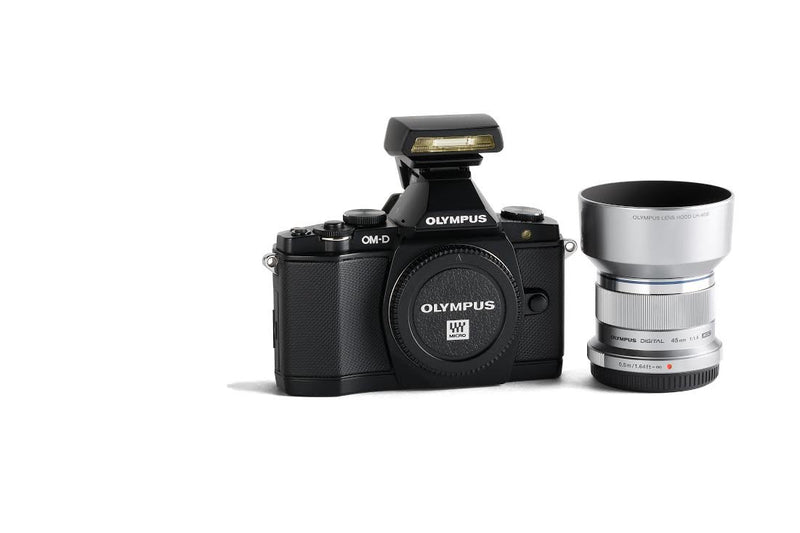 Olympus OM-D E-M5 Mirrorless Micro Four Thirds Digital Camera with 45mm Lens and FL-LM2 Flash Premium Edition Bundle