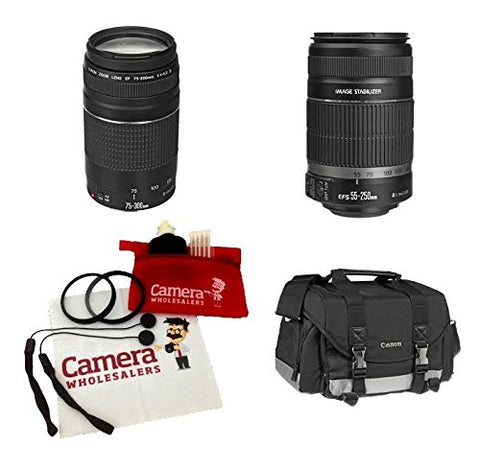 Canon EOS & Rebel lenses kit EF-S 55-250mm f/4-5.6 IS II & EF 75-300mm f/4-5.6 III Telephoto & SLR Gadget Bag, 2 UV Filter, 2 Lens Cap holder, CW Microfiber Cleaning Cloth