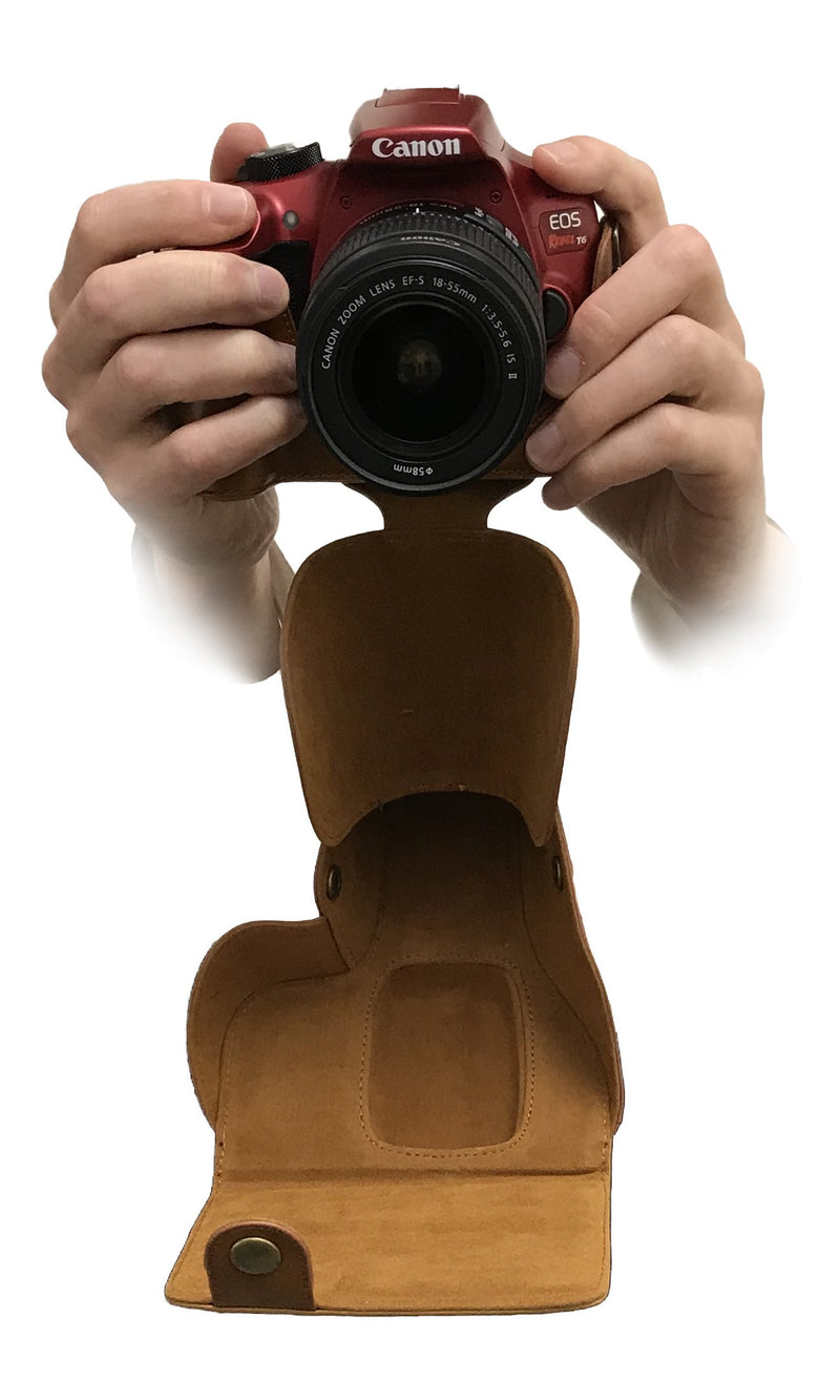 Camson Leather Case for Canon EOS Rebel T7, T6, T5, T3, with 18-55mm Lens (Coffee)