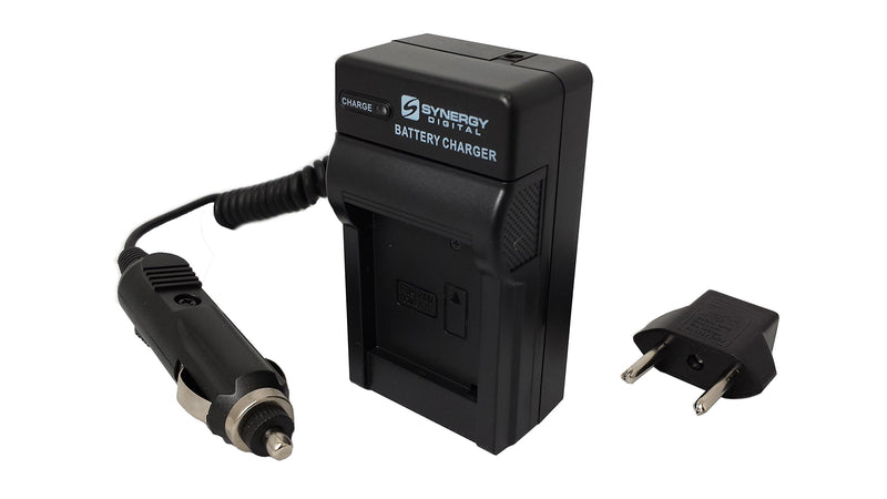 Mini Battery Charger Kit For Olympus BLN-1 Batteries - With Fold-in Wall Plug, Car & EU Adapters