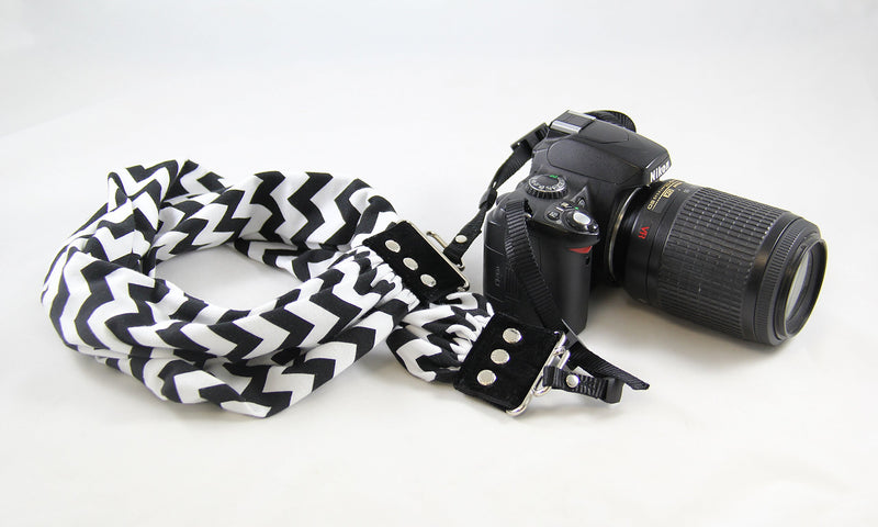 Chevron Black & White Scarf Camera Strap