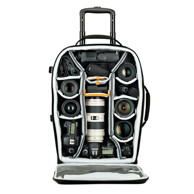 Lowepro PhotoStream Roller 150 - Rolling Travel Bag for Photographers- Carry On Compatible. 8.2 lbs. Black.