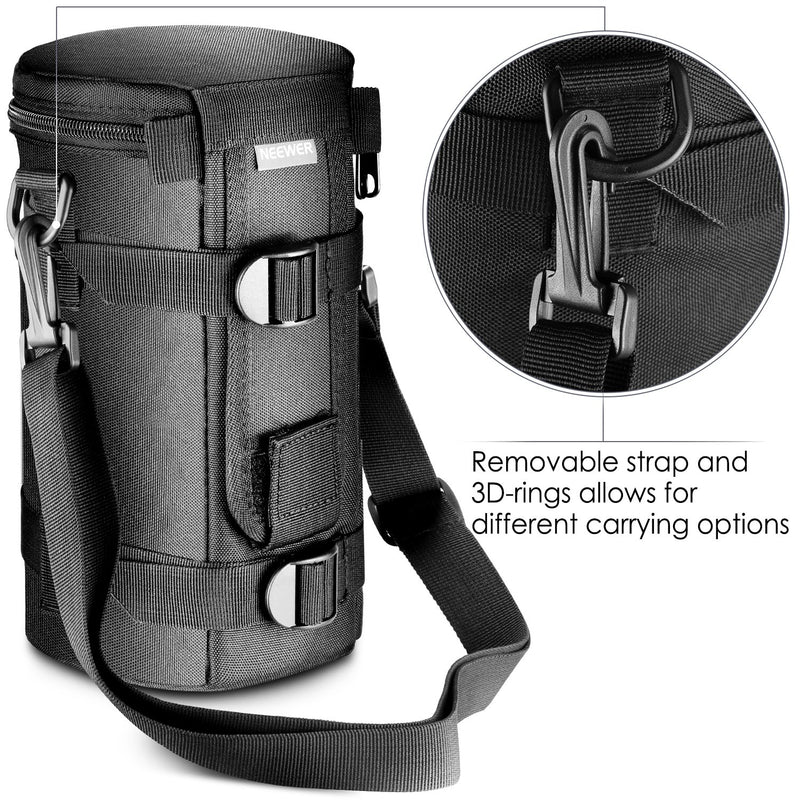 Camson Padded & Water Resistant Lens Pouch Bag Case + Adjustable Shoulder Strap