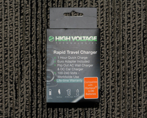 High Voltage Tech. Rapid Travel Charger #HV-CH-404 for a (Olympus Li-90, Li50, Nikon EN-EL11, Pentax D-Li78, D-Li92, Sony BK1, FK1 Batteries) AC100/240Volt