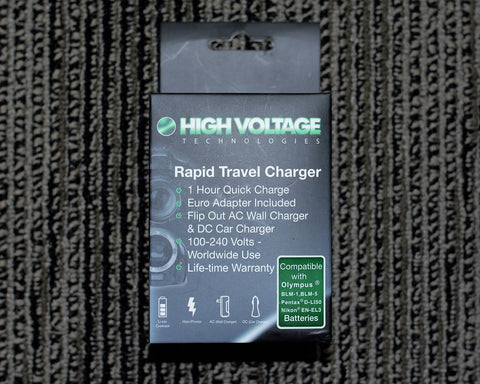 High Voltage Tech. Rapid Travel Charger #HV-CH-900 for a (Olympus BLM-1, BLM-5, Pentax D-Li50, Nikon EN-EL3 Batteries) AC100/240Volt