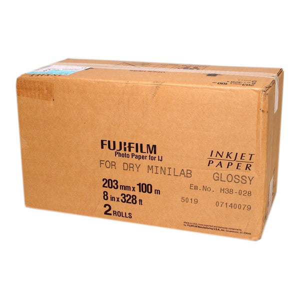 "Fujifilm Glossy Dry Inkjet Photo Paper 8"" x 328' for Dry Minilab Printer - 2 Rolls in a Box"