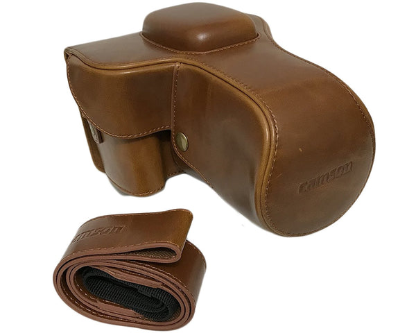 Camson Leather Case for Canon EOS 90D, 80D, 70D, 60D with Lens Attached (Coffee)