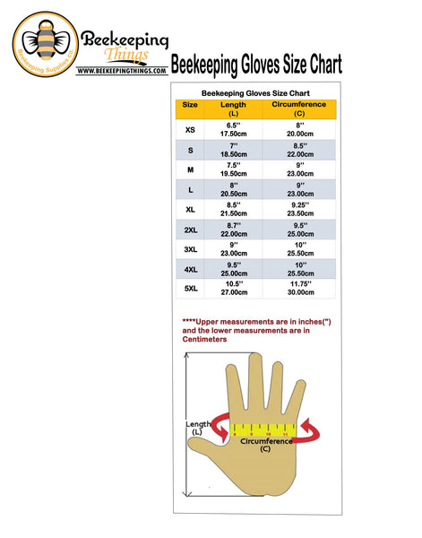 Beekeeping Gloves Size Chart