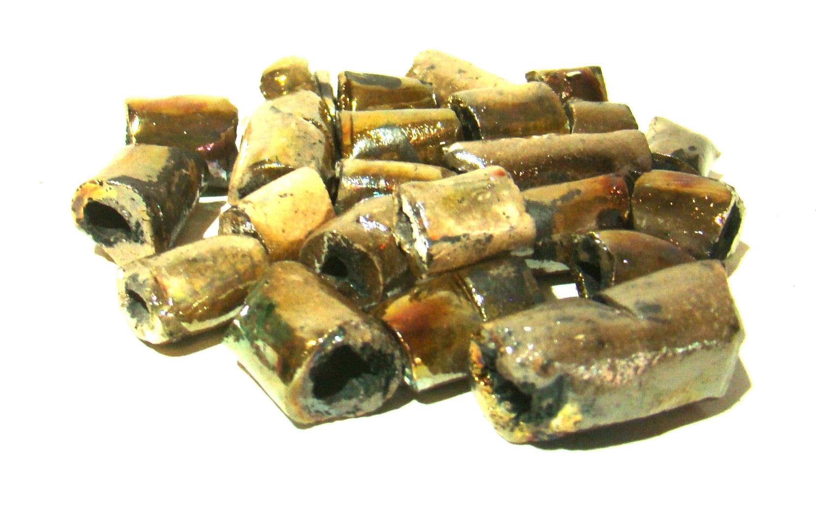 Iridescent gold and silver raku beads Most  beads have smooth surface Size range 1/4 thru 1 inch 20 irregular beads @ 5.00 a bag. Perfect for any creative DIY project