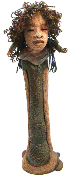 "Hattie stands  22"" x 7"" x 5"" and weights 8 lbs. She has over 50 feet of curl, twist and coils of 16gauge wire hair."