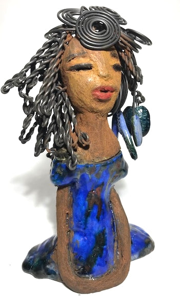 "Regina stands 7"" x 5"" 3"" with over 20 feet of 16 gauge wire hair!"